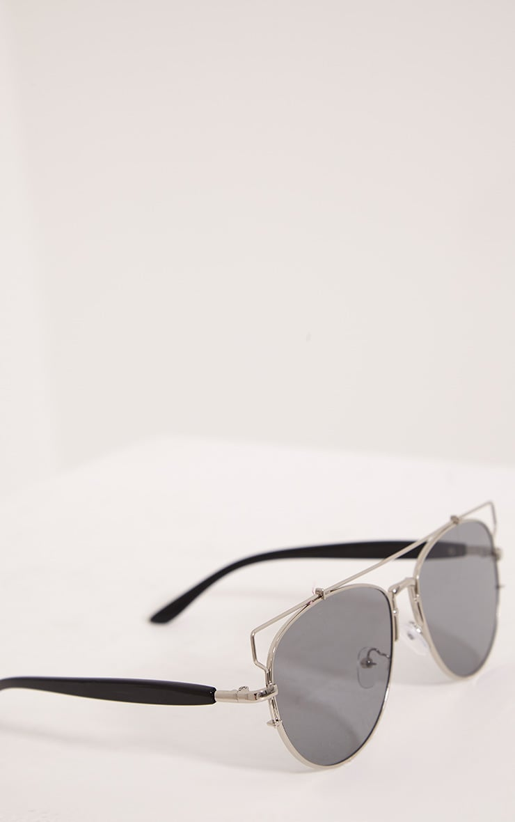 Jay Silver Mirrored Cut Out Frame Aviator Sunglasses 5