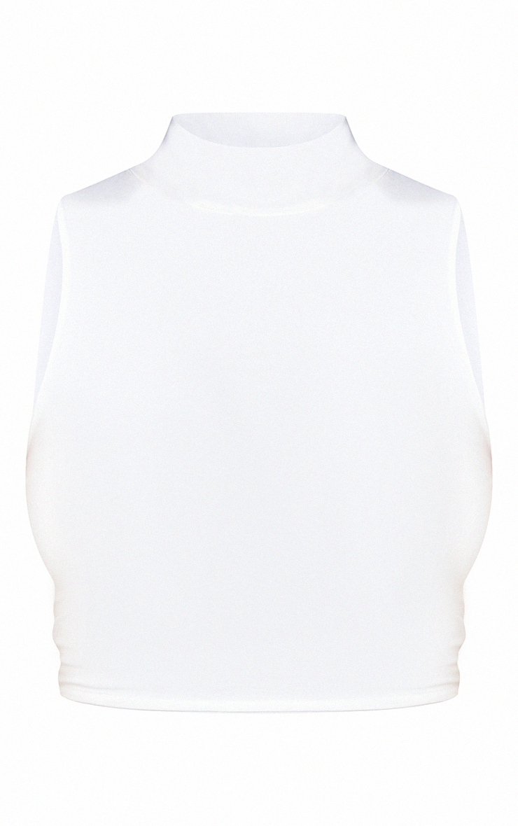 White Slinky High Neck Racer Crop Top 5