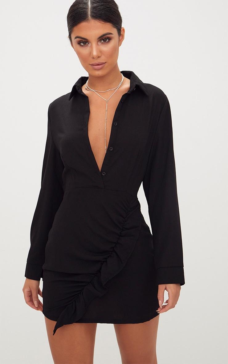 Black Frill Detail Long Sleeve Shirt Bodycon Dress 1