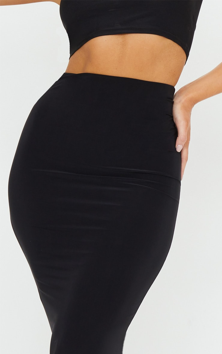 Black Second Skin Slinky Longline Midaxi Skirt  4