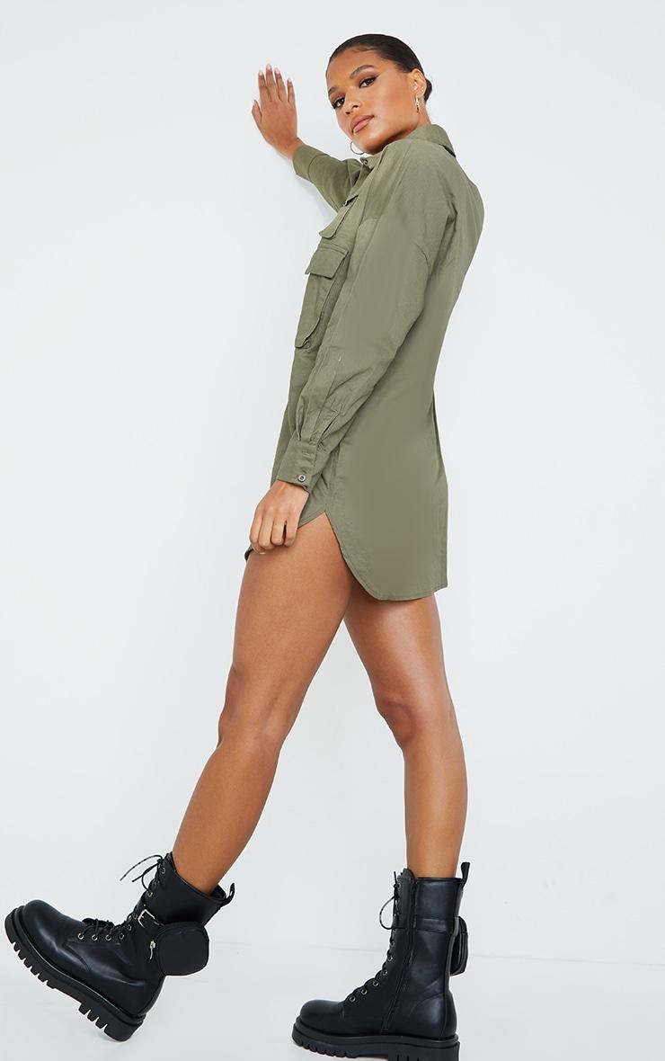 Khaki Cargo Multi Pocket Shirt Dress 2