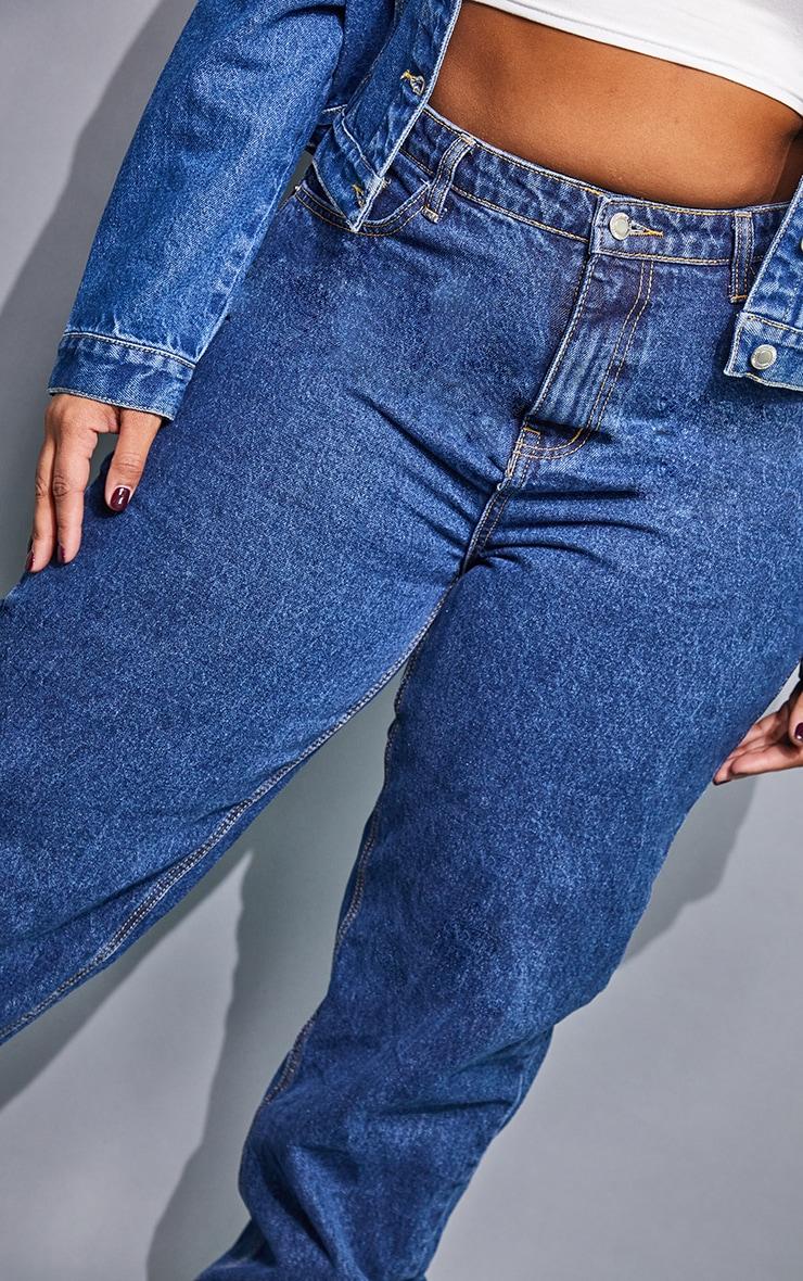 PRETTYLITTLETHING Plus Dark Blue Mom Jeans 4