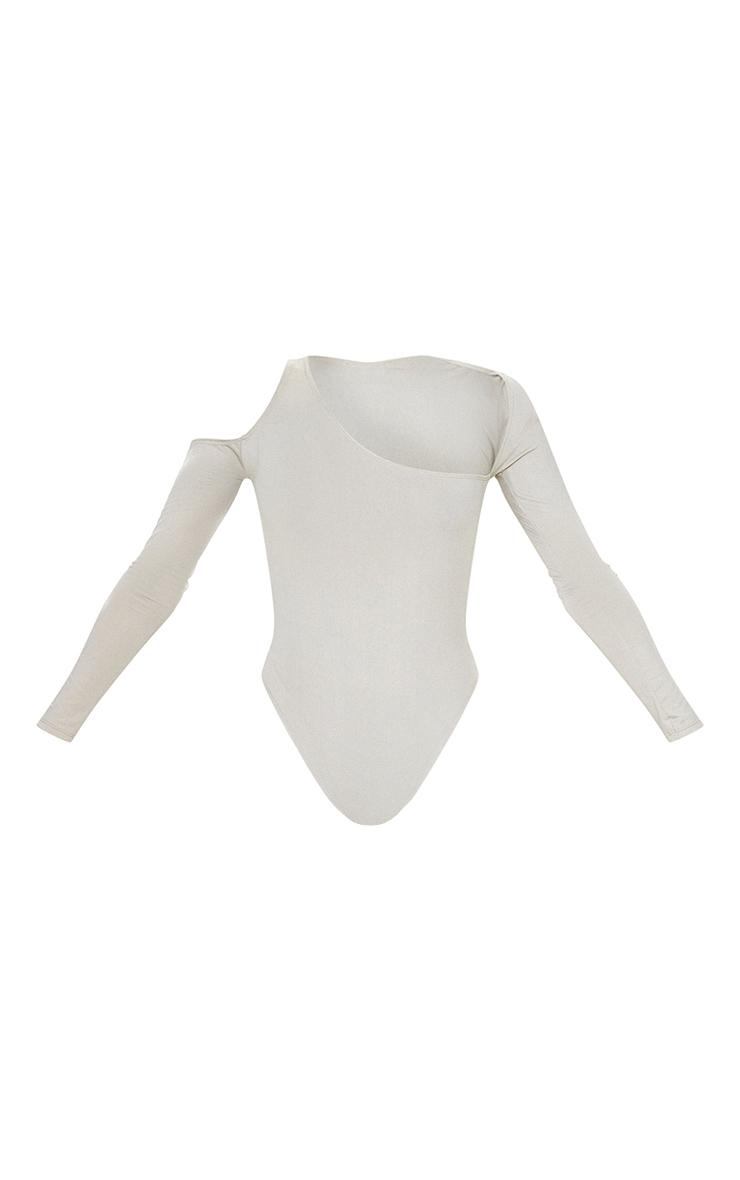 Stone Slinky Asymmetric Neck Long Sleeve Bodysuit 5