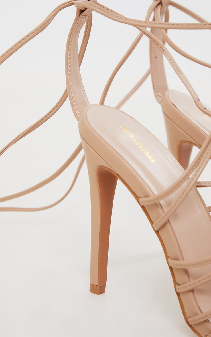 Sand PU Knot Detail Lace Up High Heeled Sandals 4