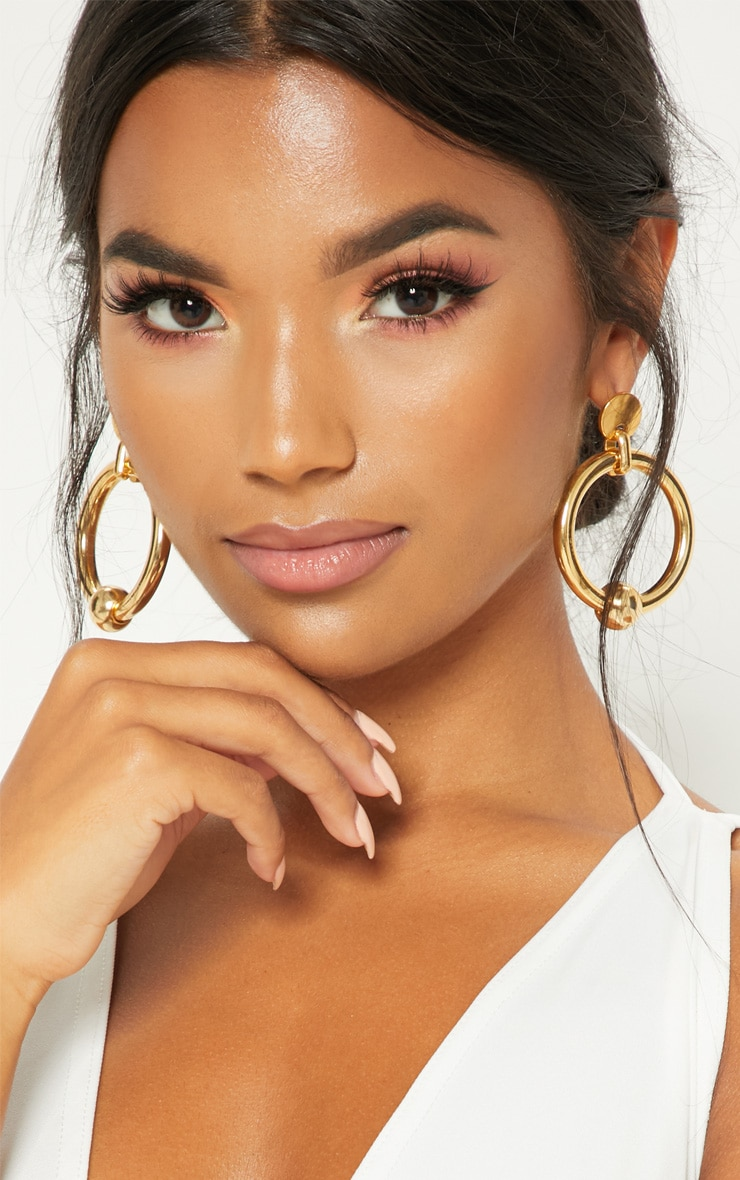 Gold Ball Hoop Earrings 1