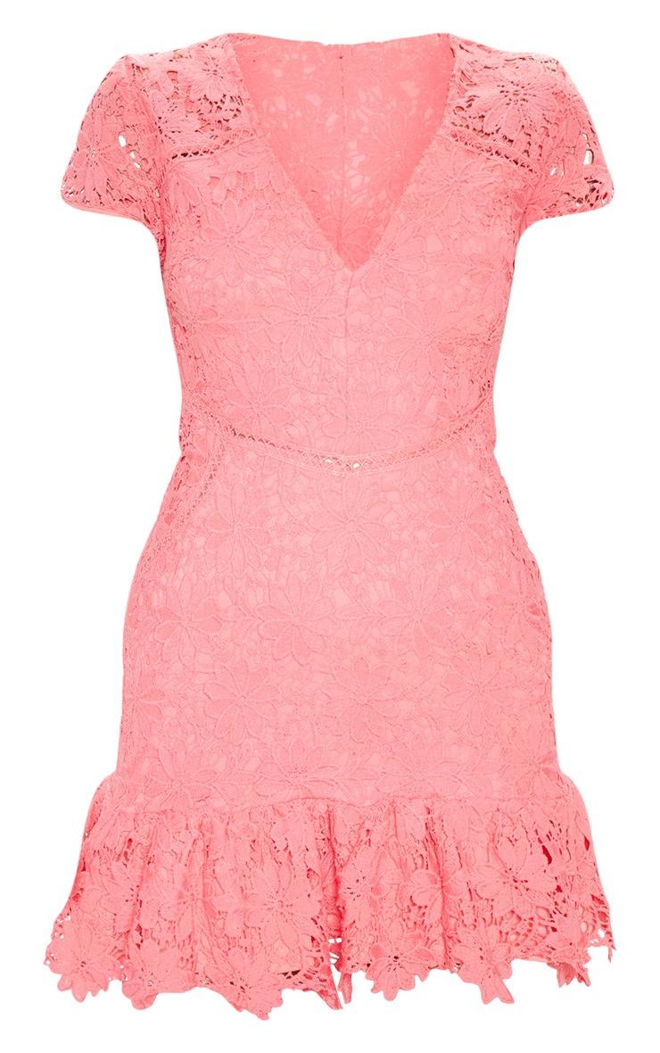 Pink Lace Cap Sleeve Skater Dress 3