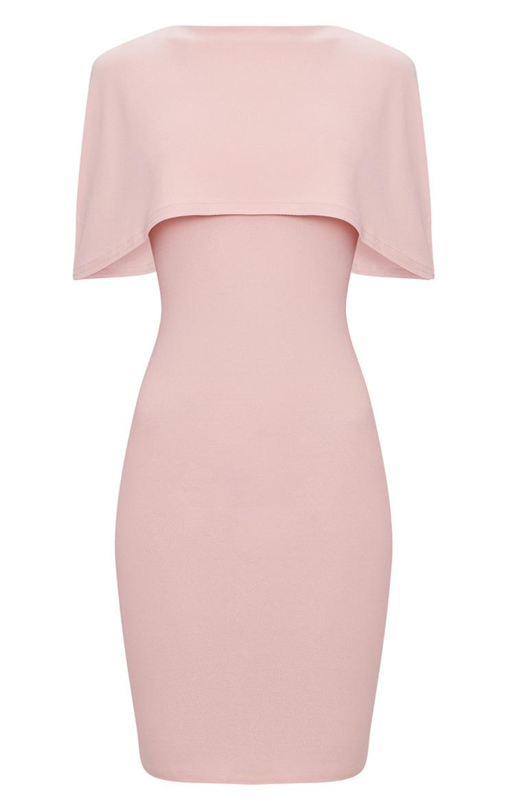 Dusty Pink Cape Detail Midi Dress 3
