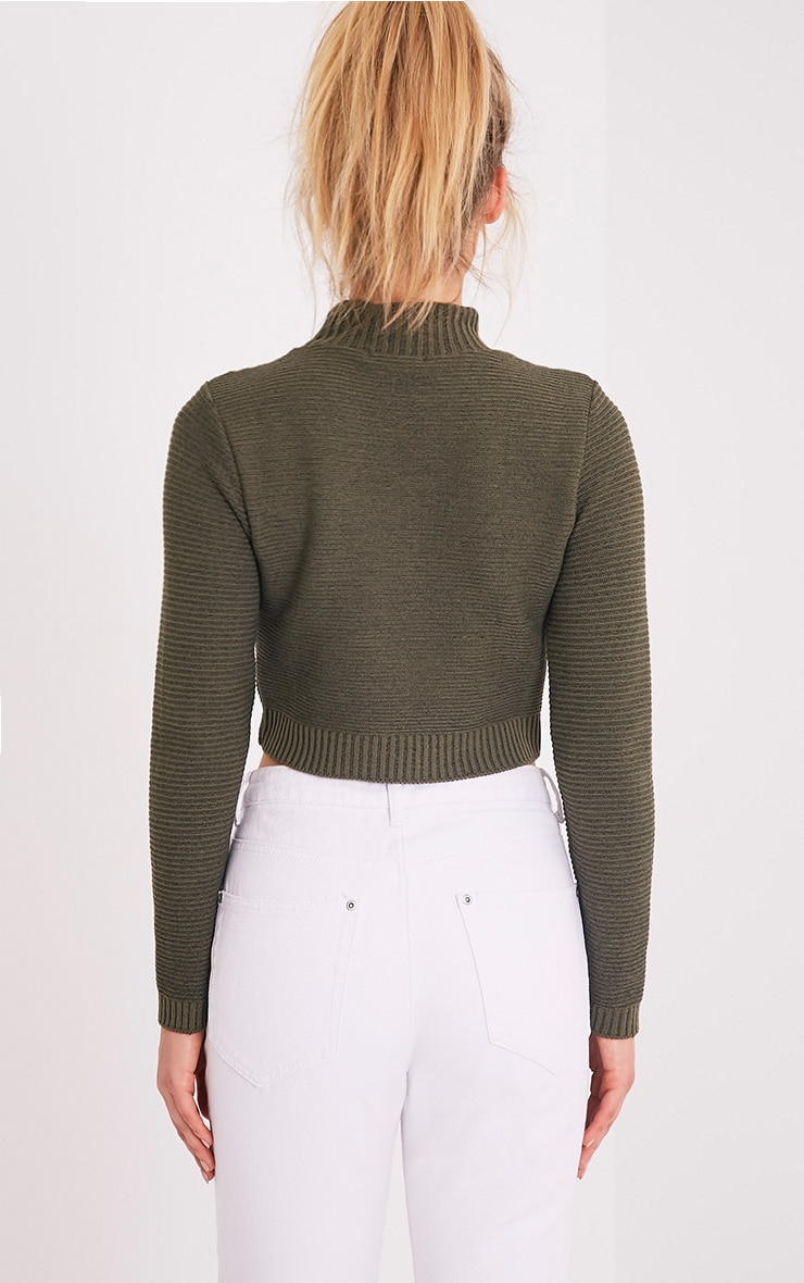 Khaki Ribbed Crop Knitted Jumper  2