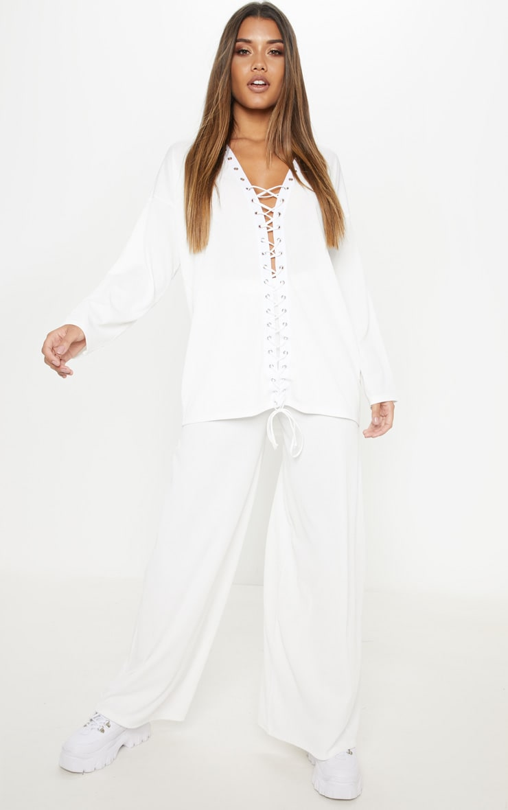 White Lace Up Oversized Rib Top 4