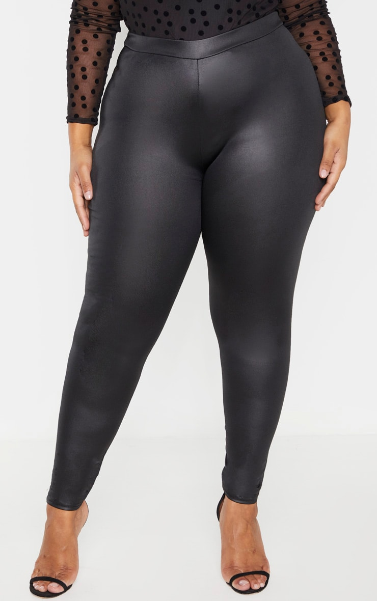 Plus Black PU Fitted Legging  2