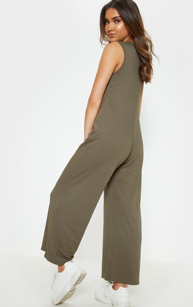 Khaki Rib Oversized Slouchy Jumpsuit 2