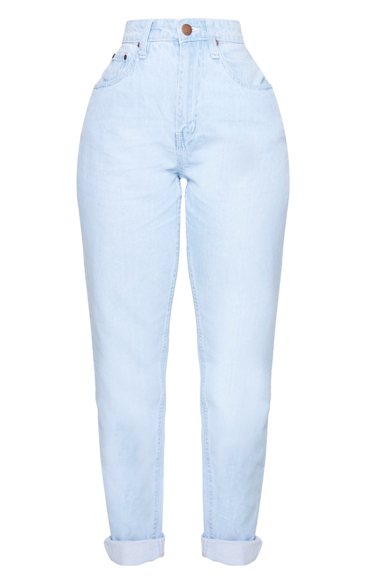 Shape Bleached Washed High Waist Mom Jeans 5