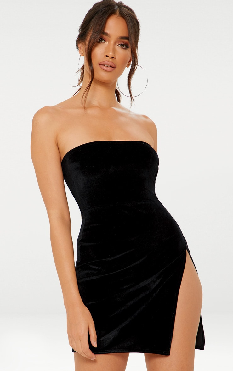 Black Velvet Bandeau Extreme Split Bodycon Dress 1
