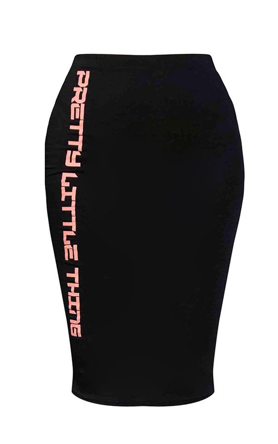 PRETTYLITTLETHING Shape Black Midi Skirt 5