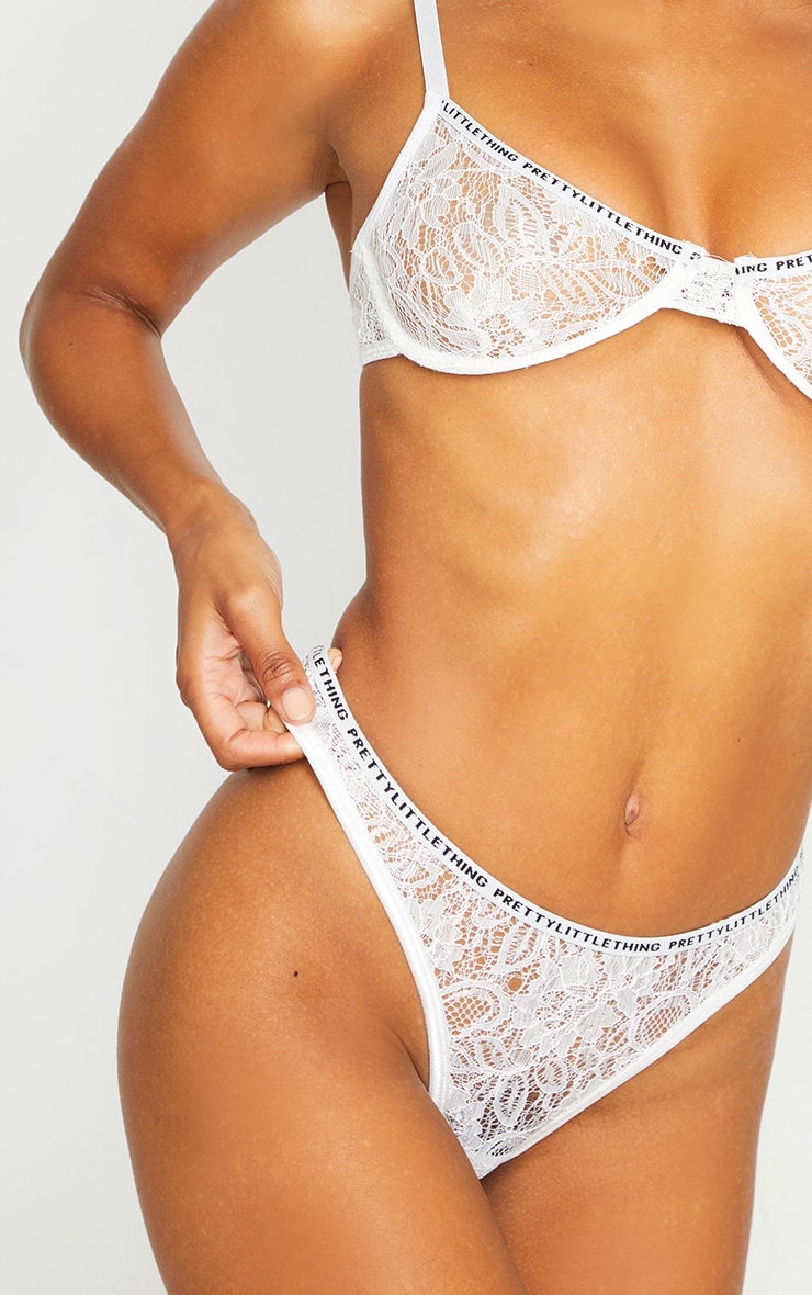 PRETTYLITTLETHING White Floral Lace Thong 5