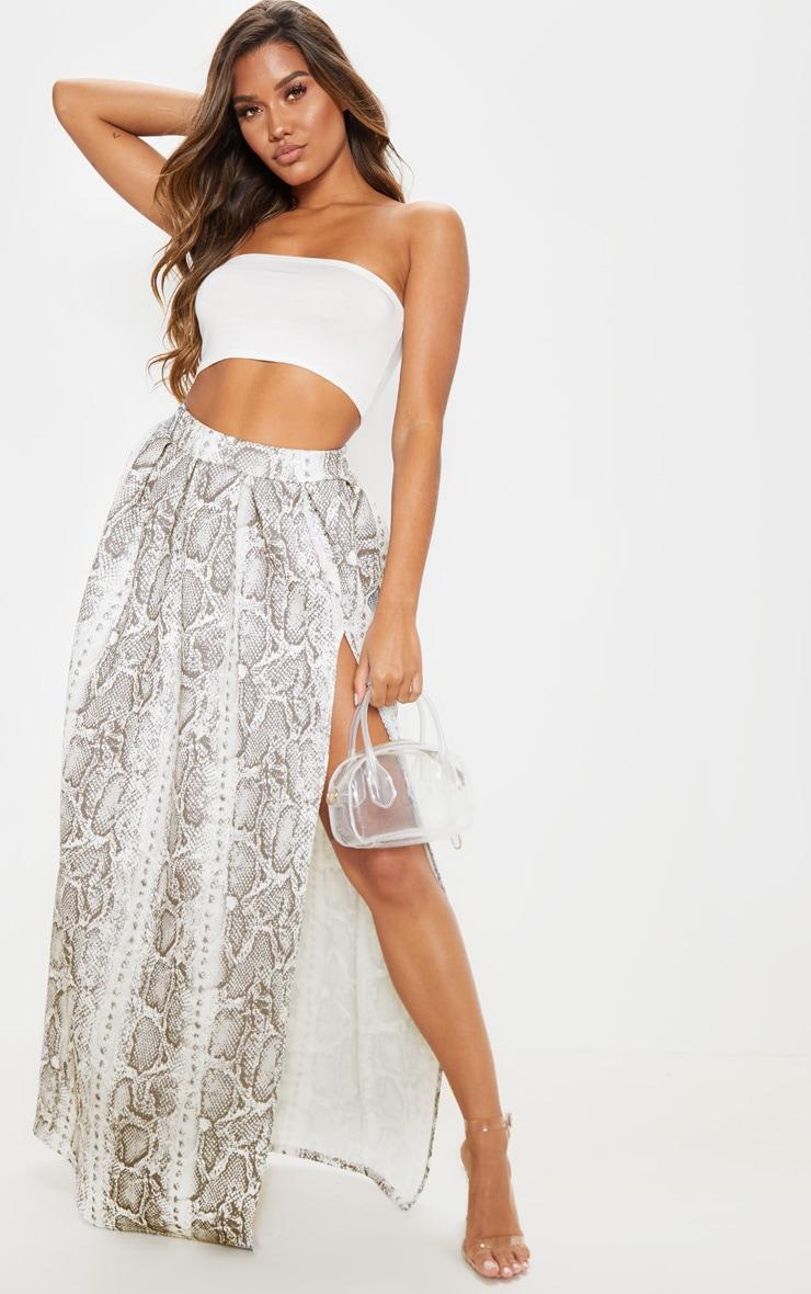 Grey Snake Print Scuba Maxi Skirt 1