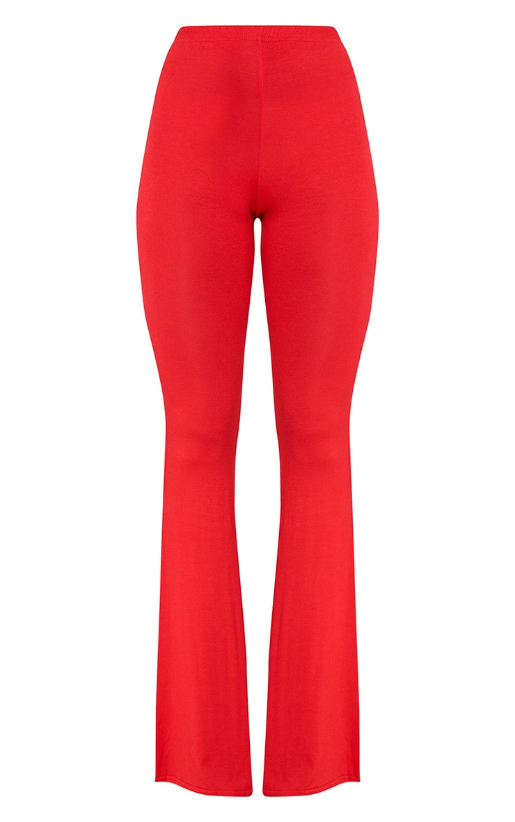 Red Basic Jersey Flared Trousers 3