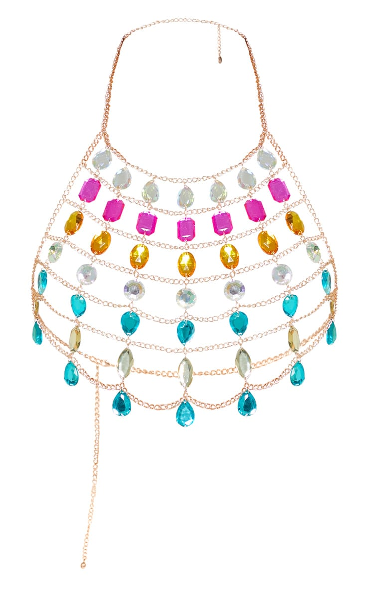 Multi Gemstone Halter Neck Body Jewellery 3