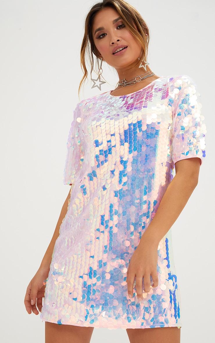 00c113d45789d Pink Sequin T Shirt Dress. Dresses | PrettyLittleThing USA