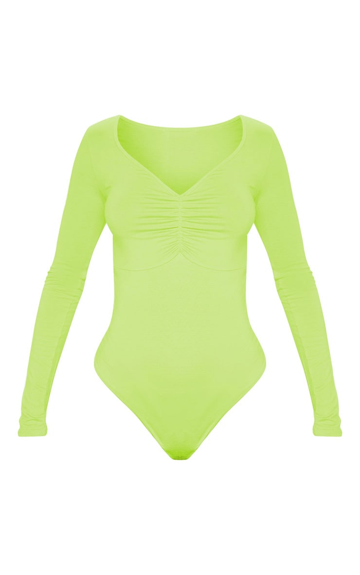 Lime Jersey Ruched Long Sleeve Bodysuit 3
