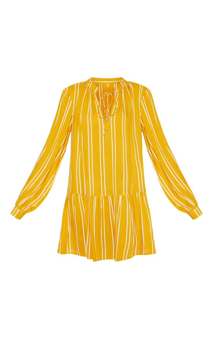 Mustard Stripe Tie Neck Frill Smock Dress 3