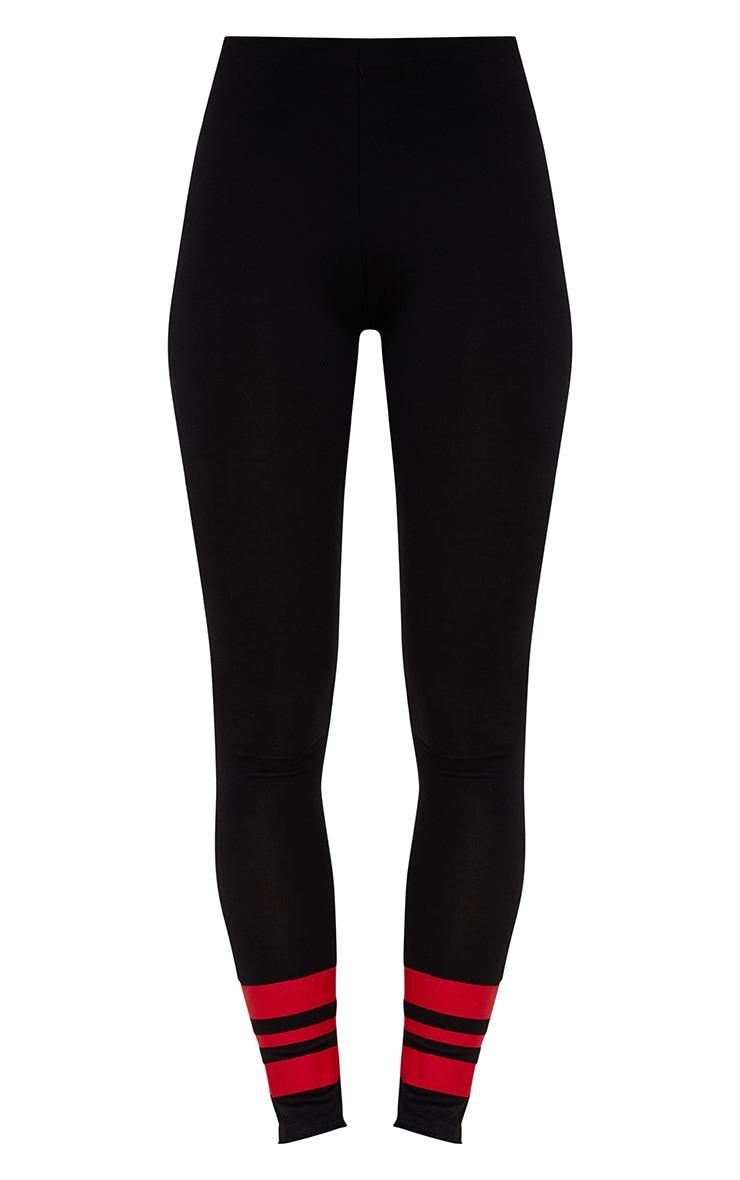 Black Track Stripe Cuff Leggings 3