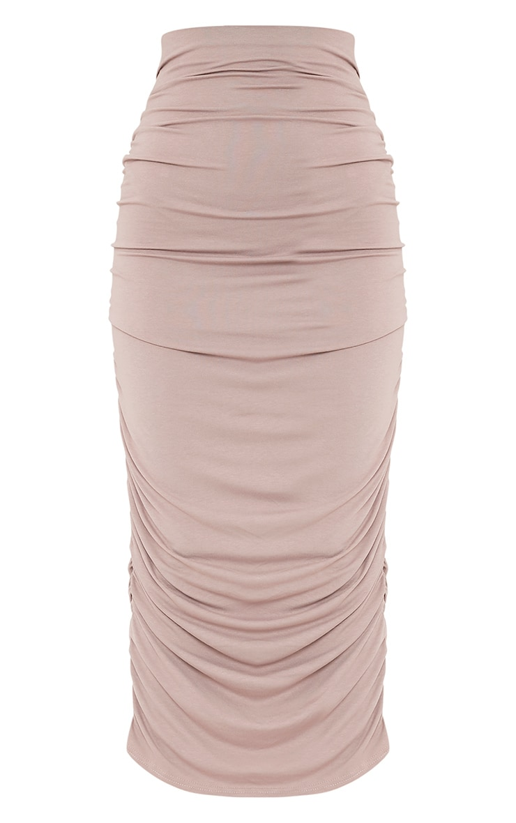 Taupe Second Skin Ruched Midaxi Skirt 3