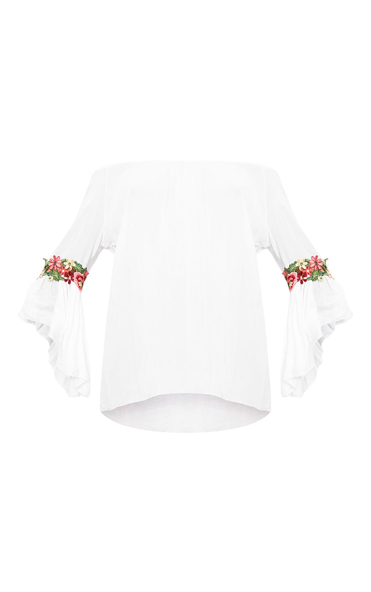 White Soft Embroidered Applique Sleeve Bardot Top 2