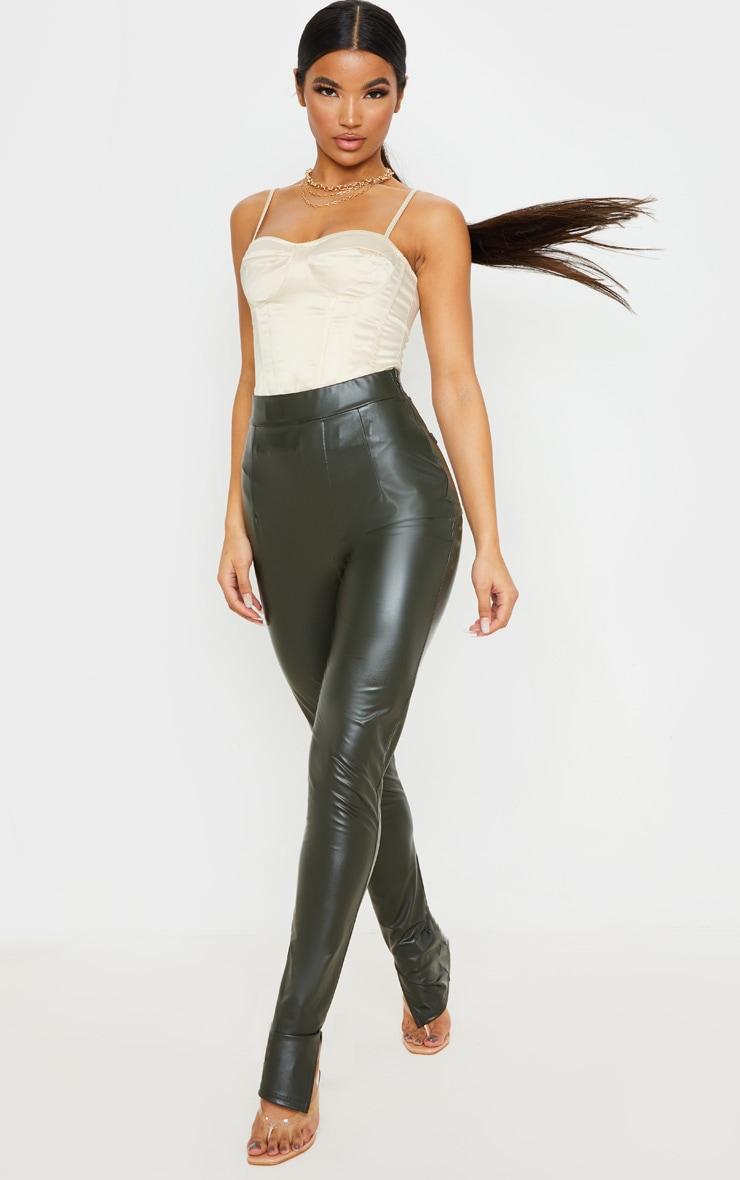 Khaki Faux Leather Split Hem Skinny Pants 1