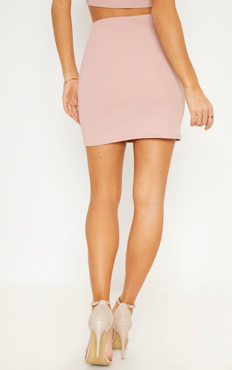 Blush Crepe Button Detail Mini Skirt 4