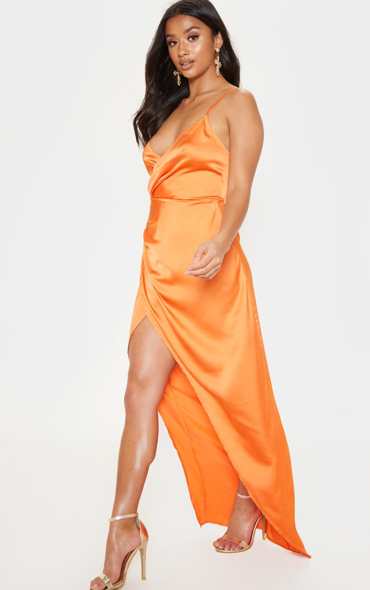 Petite Orange Satin Wrap Detail Maxi Dress 1
