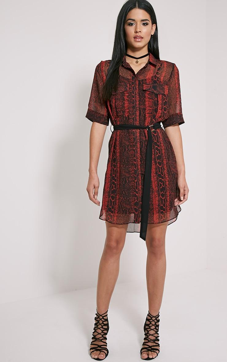 Meena Red Snake Print Shirt Dress 3