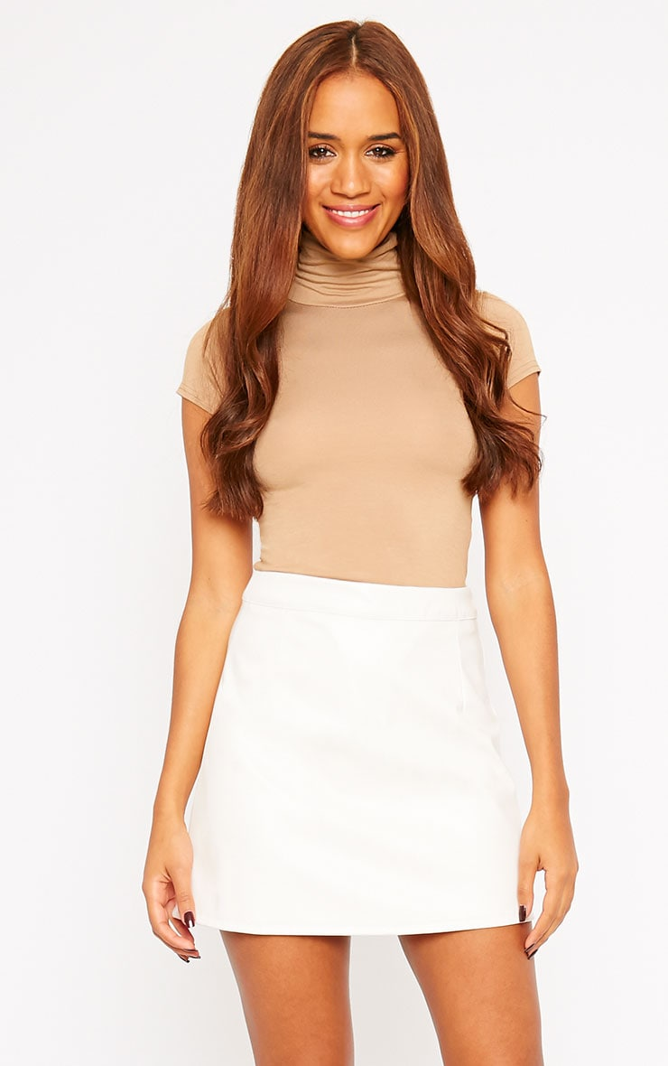 Rose Cream Faux Leather Mini Skirt  1