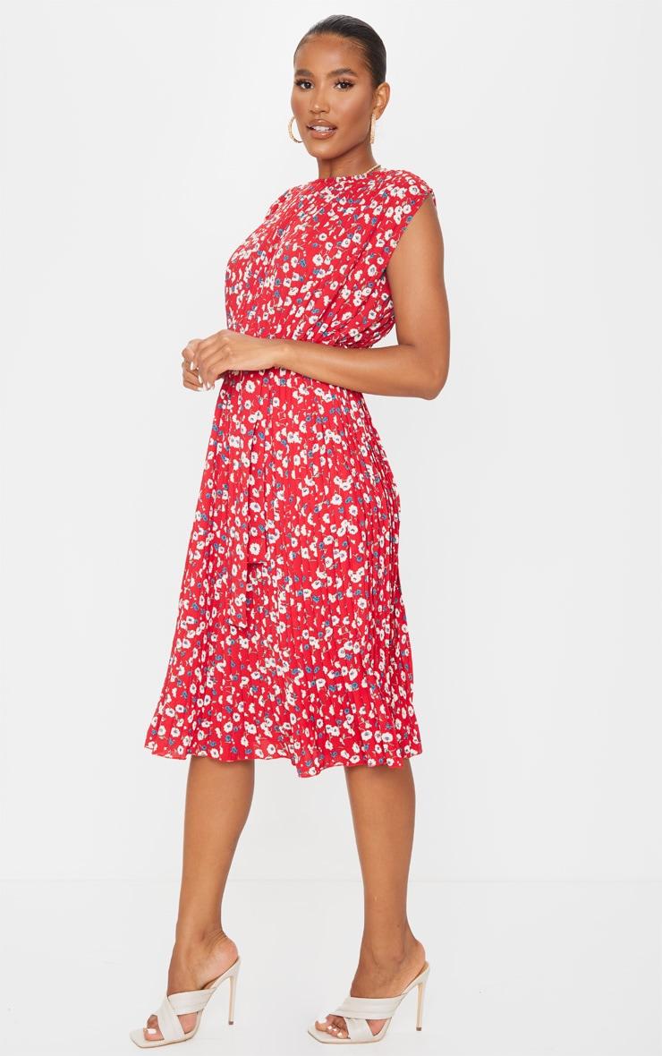 Red Floral Pleated Sleeveless Midi Dress 3