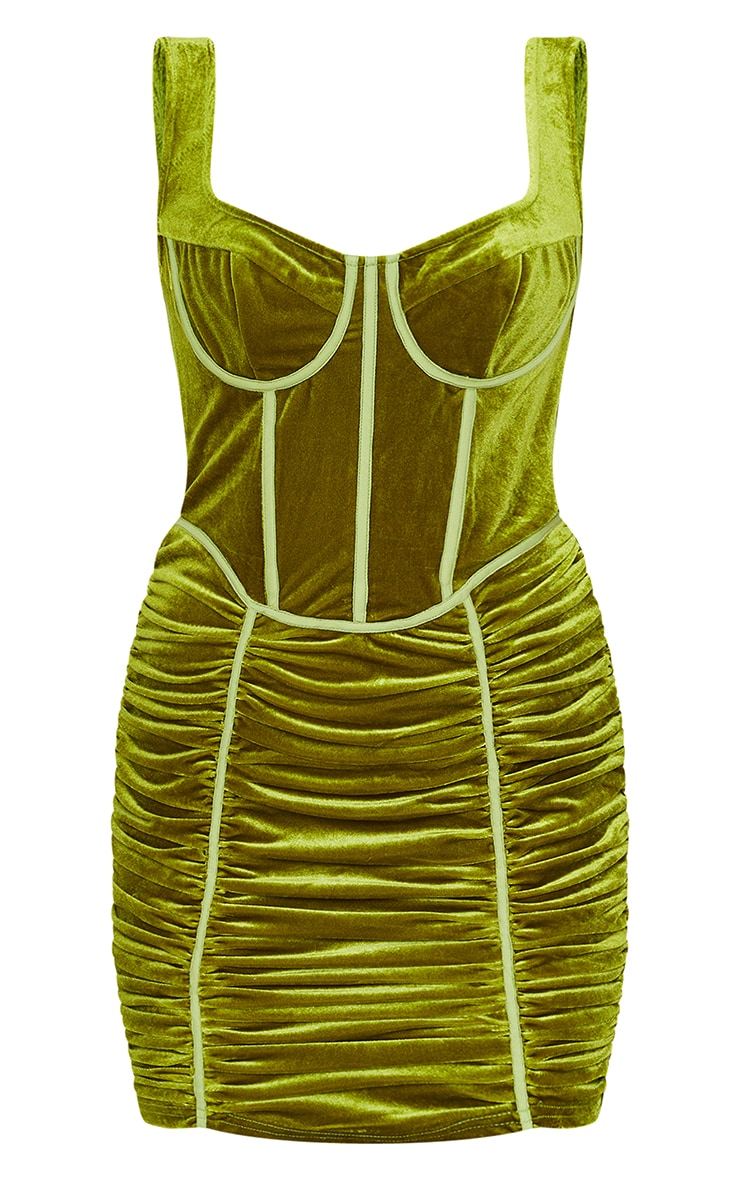 Olive Velvet Corset Ruched Binding Detail Bodycon Dress 5