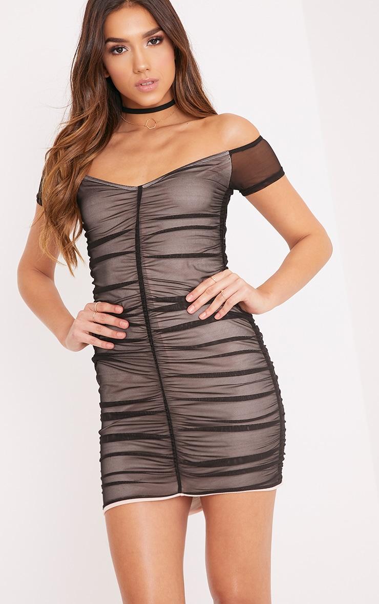 Billie Black Bardot Ruched Mesh Bodycon Dress  1