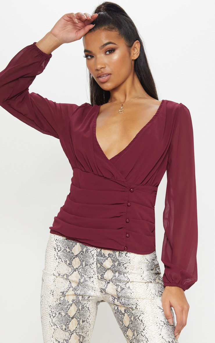 Burgundy Ruched Plunge Button Blouse