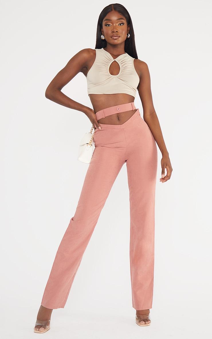 Tall Mauve Cut Out Waist Pants 1