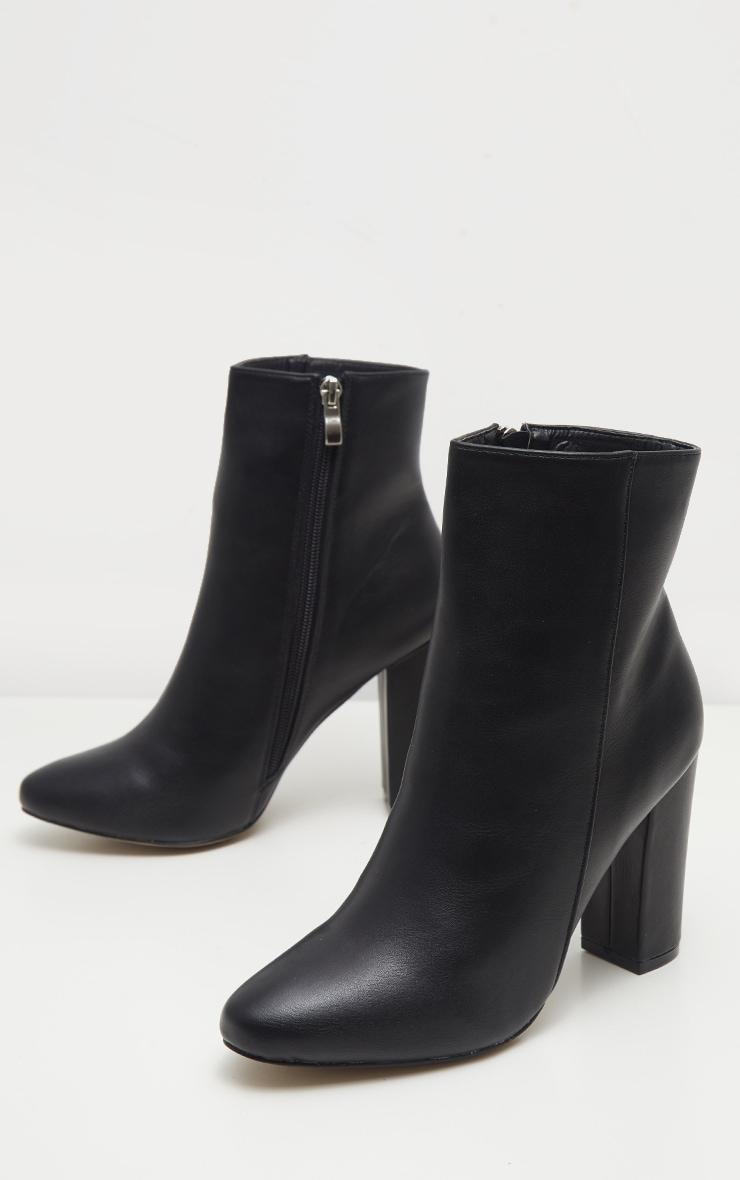 Black Faux Leather Ankle Boot 3