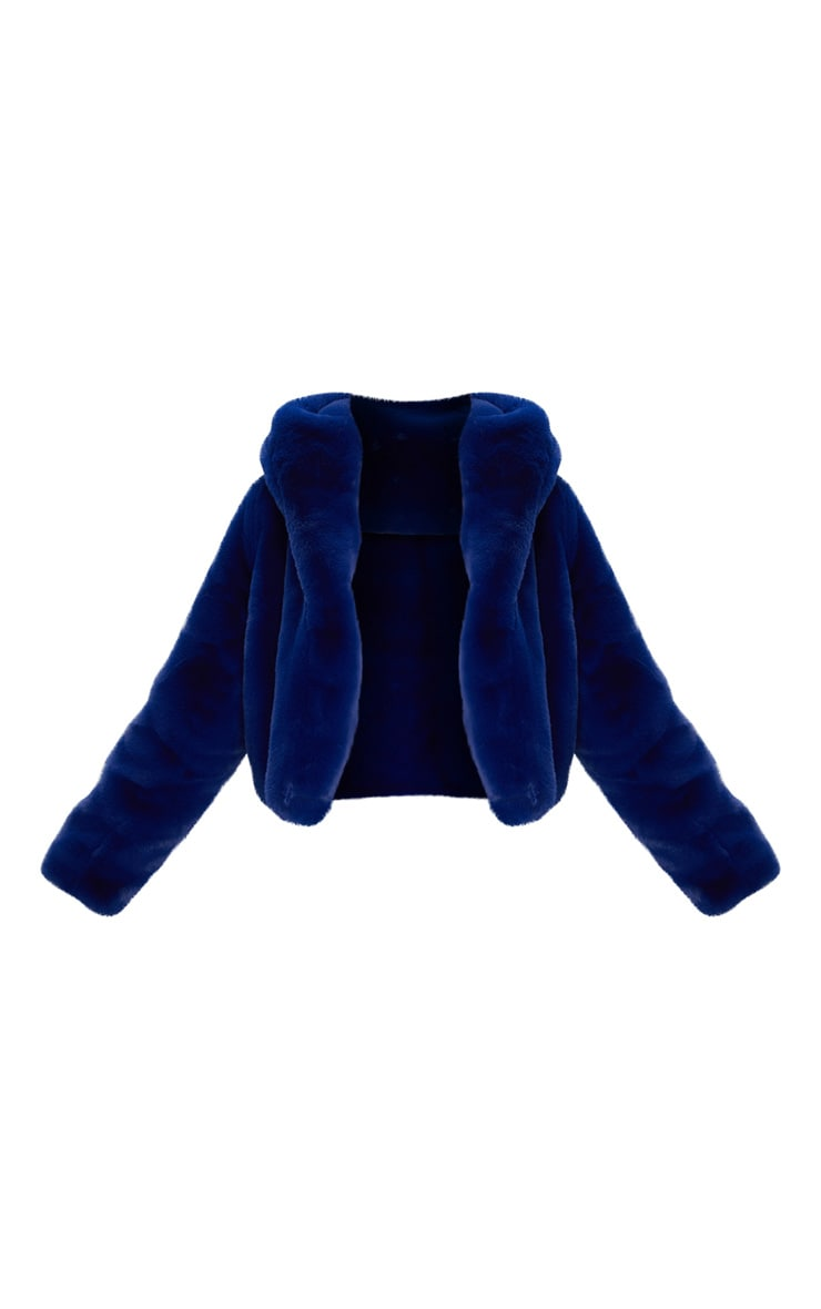 Blue Cropped Faux Fur Hooded Coat 3