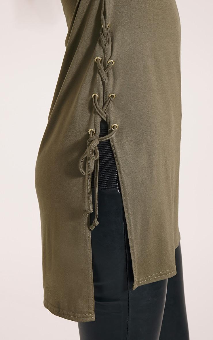 Andromeda Khaki Eyelet Tie Side Jersey T-Shirt 5