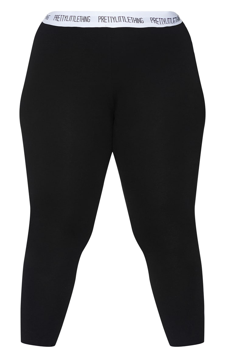 Essential PRETTYLITTLETHING Plus Black Cotton Blend Leggings 5