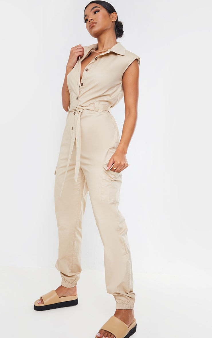 Stone Sleeveless Shoulder Pad Button Front Cargo Jumpsuit 3