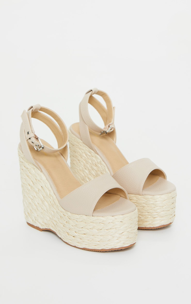 Nude Raffia Chunky Rope Ankle Strap Wedges 3