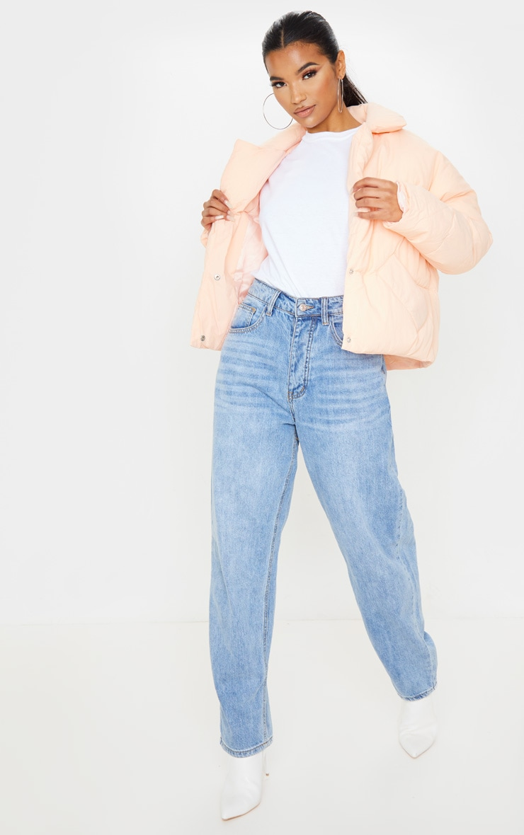 Pink Peach Skin Oversized Cropped Puffer 4