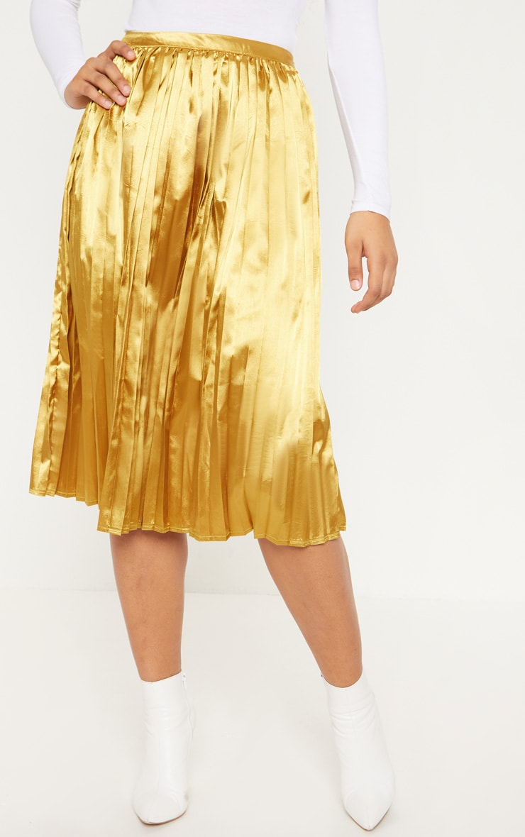 Tall Chartreuse Satin Pleated Midi Skirt  2