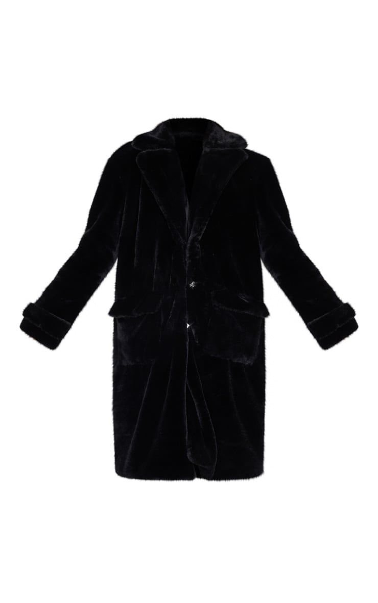 Manteau style militaire noir en fausse fourrure 5