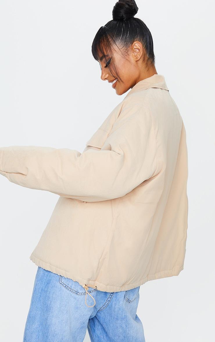 Veste style doudoune en peau de pêche gris pierre à détail col  2