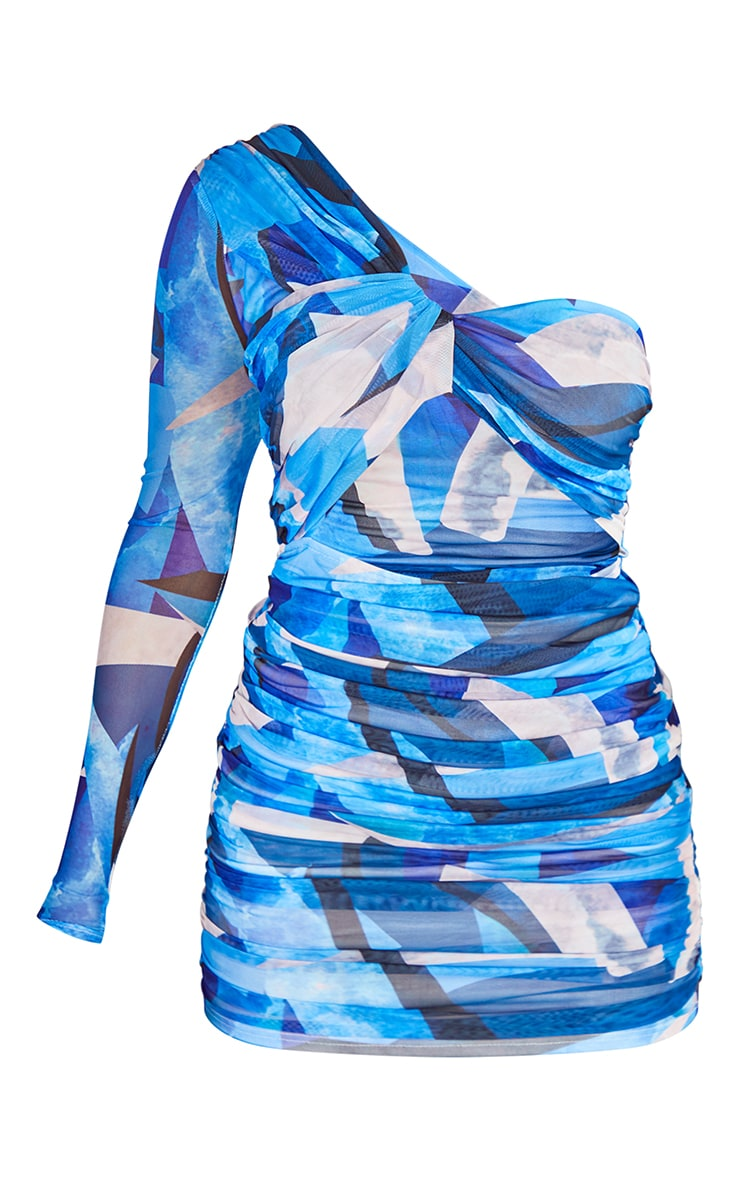 Blue Abstract Print Mesh One Shoulder Detail Bodycon Dress 5