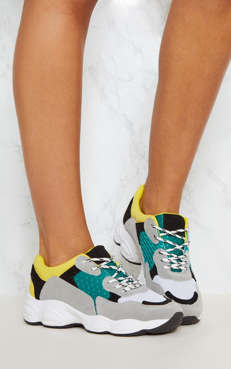 Grey Chunky Contrast Trainers 4